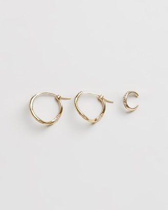 Joanna Laura Constantine Set of Three Feminine Wave Hoop Earrings With Pave Stones