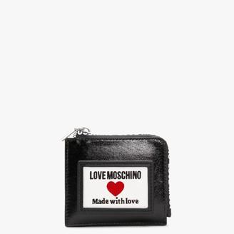 Love Moschino Coated Canvas Black Patent Logo Purse