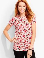 Talbots Ruched Bateau Tee-Floating Flowers