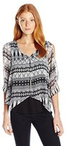 Amy Byer A. Byer Juniors Overlay 3/4 Split Sleeve Top W/ Necklace