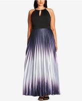 City Chic Trendy Plus Size Pleated Ombré A-Line Gown