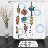 Vipsung Shower Curtain And Ground MatLantern Decor Collection Colorful Oriental Lanterns Decorative Modern Stylish Firelights Asian Style Art Red Tail YellowShower Curtain Set with Bath Mats Rugs