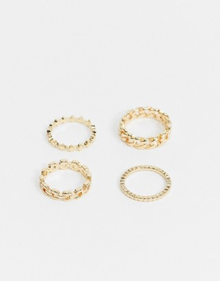 Pieces 4 pack chain rings in gold