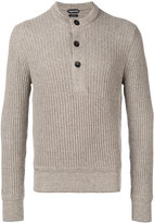 Tom Ford ribbed button sweatshirt - men - Cotton/Linen/Flax/Cashmere - 48
