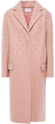 Carven Studded Brushed-felt Wool-blend Coat