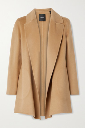 Theory Clairene Brushed Wool And Cashmere-blend Coat - Camel