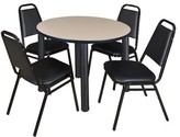 "BEIGE Leiser 5 Piece Round Breakroom Table Set Symple Stuff Base Finish: Black, Top Finish: Beige, Size: 29"" H x 36"" W x 36"" D"