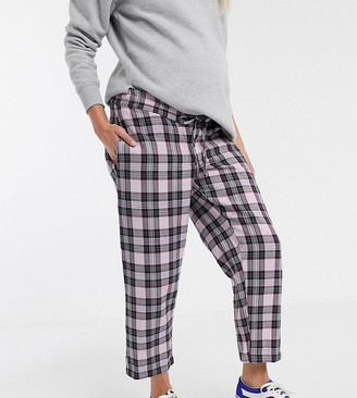 Asos DESIGN Maternity lilac check pull on pants-Multi