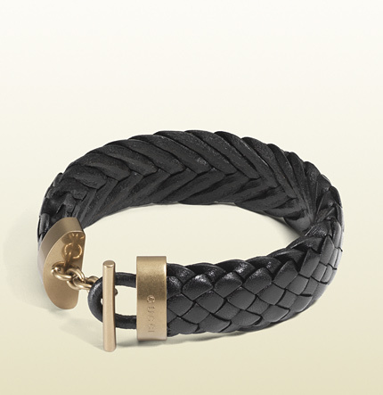 Gucci Black Woven Leather Bracelet