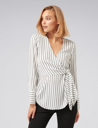Forever New Deb Side Tie Stripe Blouse - Navy/Porcelain Stripe - 4