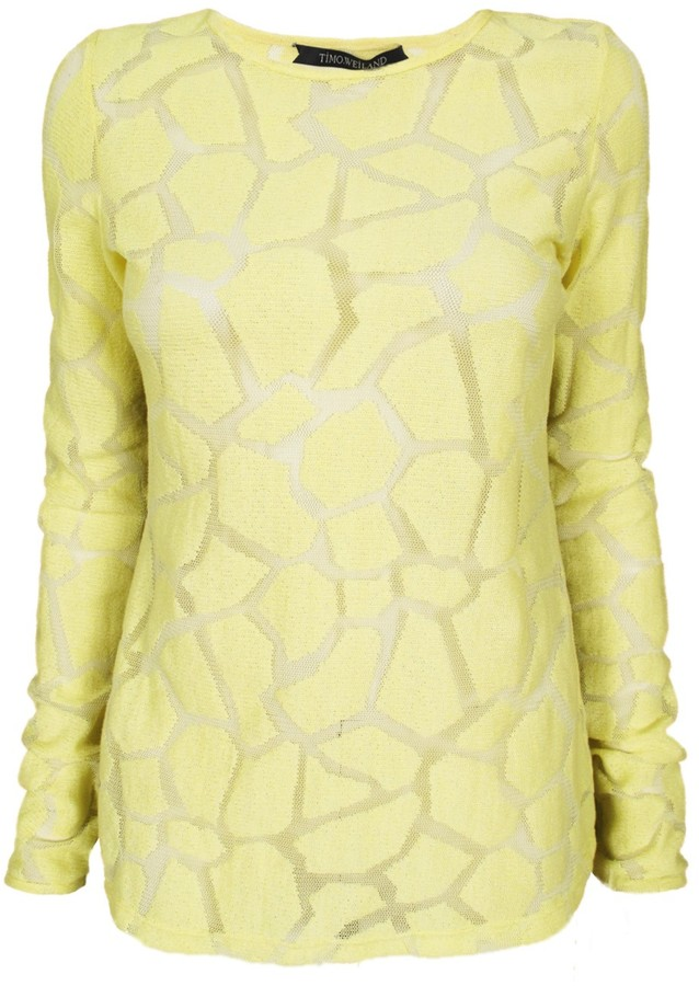 Timo Weiland Geometric Lace Long Sleeve Crew