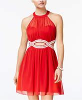 Speechless Juniors' Embellished Infinity Halter Dress