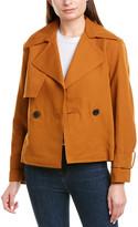 Vince Cropped Belted Linen-Blend Jacket