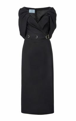 Prada Draped Cady Midi Dress