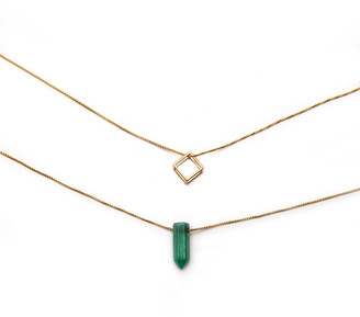 Alex and Ani Malachite and Square Necklaces, Set of 2
