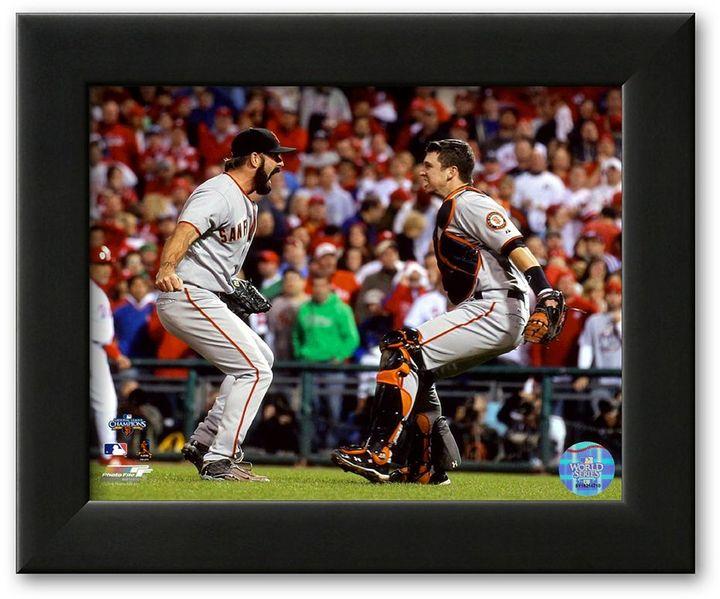 "Wilson Art.com ""buster posey & brian celebrate winning the 2010 nlcs"" framed art print"