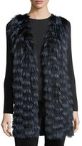Neiman Marcus Luxury Cashmere Vest w/ Fox Fur Front & Sequin-Trim Back