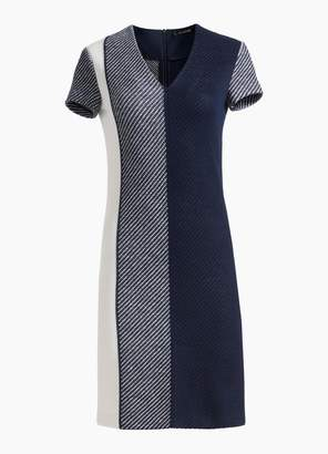 St. John Modern Textured Intarsia Knit V-Neck Cap Sleeve Dress