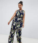Uttam Boutique Plus Long Sleeve Belted Printed Maxi Dress