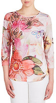 Allison Daley Crew-Neck Butterfly Floral Print 3/4 Sleeve Knit Top