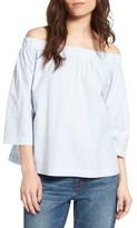 Madewell Women's Pinstripe Cotton Off The Shoulder Top