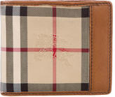 Burberry Leather-Trimmed Haymarket Wallet