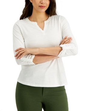 Charter Club Petite Split-Neck Top, Created for Macy's