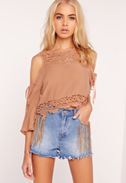 Missguided Lace Yoke Cold Shoulder Top Nude