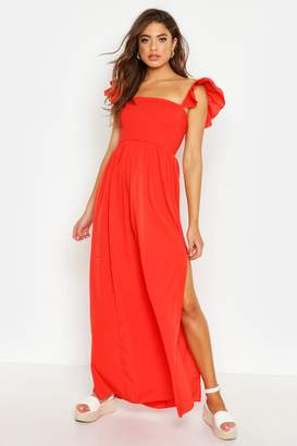 boohoo Woven Shirred Flutter Sleeve Split Maxi Dress