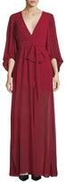 Halston Plisse Full-Sleeve Evening Gown