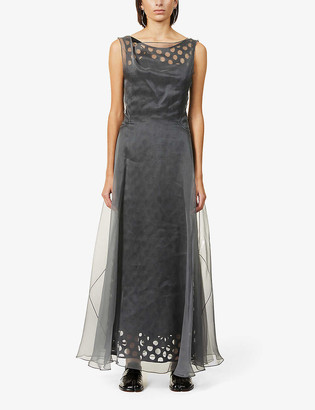 Maison Margiela Cut-out silk organza maxi dress