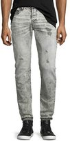 True Religion Rocco Distressed Slim-Fit Jeans, Worn Raven