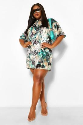 boohoo Plus Tie Dye Velvet T-Shirt Dress