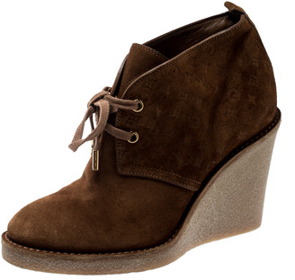 Louis Vuitton Brown Monogram Embossed Suede Leather Wedge Ankle Booties Size 37