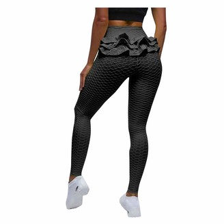 So Buts Women Pants SO-buts Women's Bubble Hip Lifting Exercise Fitness Running High Waist Yoga Pants Slim Softy Trousers Pilates Workout Gym Leggings (Black XL)