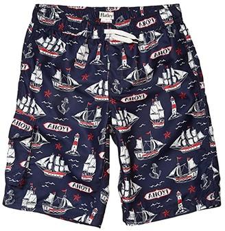 Hatley Nautical Ships Swim Trunks (Toddler/Little Kids/Big Kids) (Blue) Boy's Swimwear