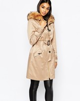 Lipsy Parka Trench With Faux Fur Collar