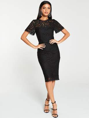 Very Occasion Lace Pencil Dress - Black