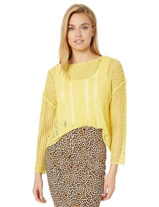 J.o.a. Women's Drop Shoulder Open Stitch Cropped Sweater