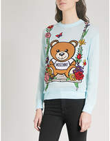 Moschino Appliquéd cotton-knitted jumper