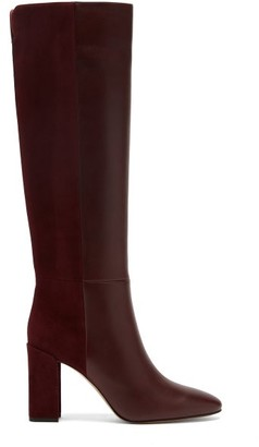 Nicholas Kirkwood Elements Suede And Leather Knee-high Boots - Burgundy