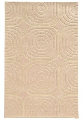 Pantone Universe Optic Geometric Handmade Tufted Wool Pink/Ivory Area Rug Universe Rug Size: Rectangle 10' x 13'