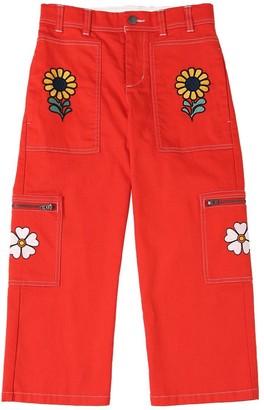 Stella Mccartney Kids Embroidered Stretch Denim Cargo Jeans