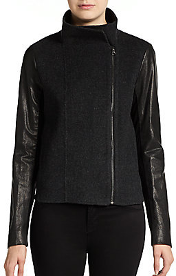 Vince Leather-Sleeved Wool-Blend Jacket