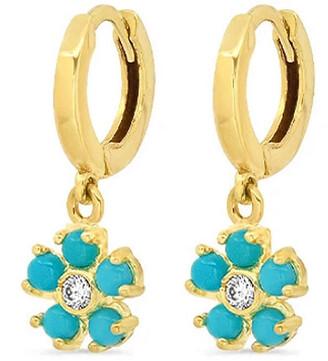Jennifer Meyer Mini Turquoise and Diamond Flower Yellow Gold Huggie Hoop Earrings