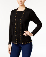 NY Collection Petite Grommet Layered-Look Sweater