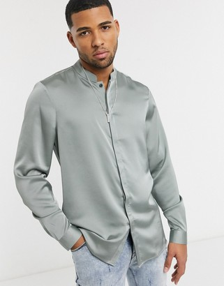 ASOS DESIGN regular fit shirt with mandarin collar in sage green