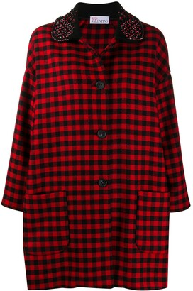 RED Valentino Embellished Collar Check Print Coat