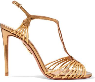 Aquazzura Josephine Metallic Leather Sandals - Gold