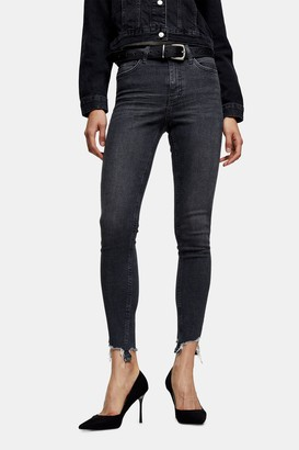 Topshop PETITE Washed Black Jagged Hem Jamie Skinny Jeans